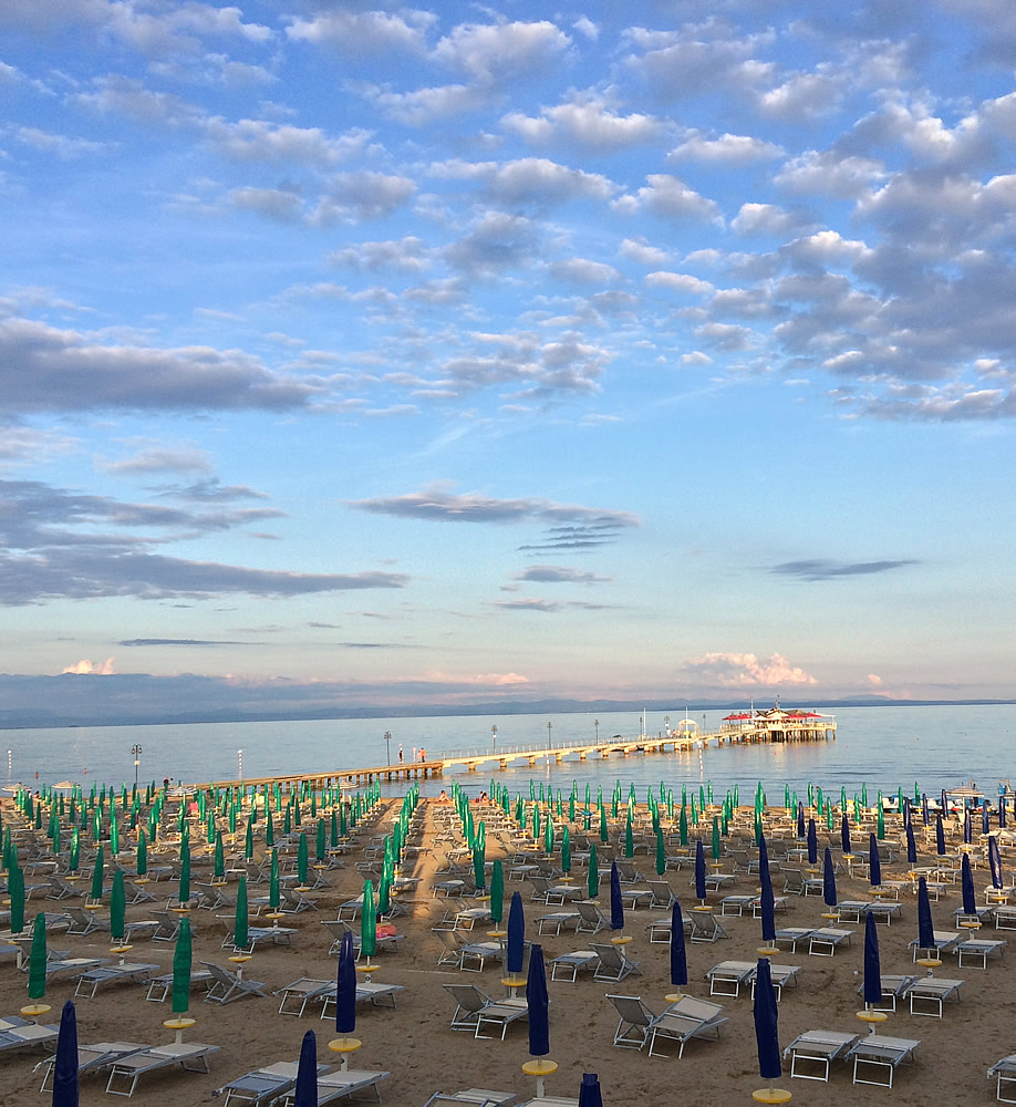 View of the beach in Lignano Pineta